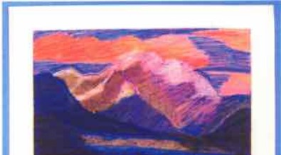 Oil pastel drawing of mountain