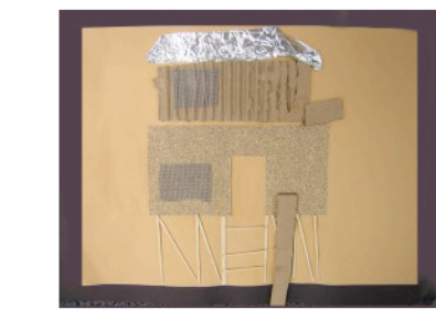 collage of a building using sandpaper and cardboard