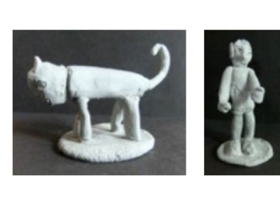 photos of two little clay sculptures, a cat and a person