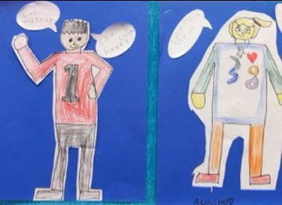 examples of two student's drawings of cartoon people