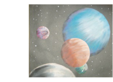 oil pastel drawing of planets