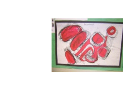 photo of student's painting with ovoid shapes