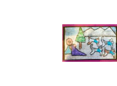 artwork showing a dog sled
