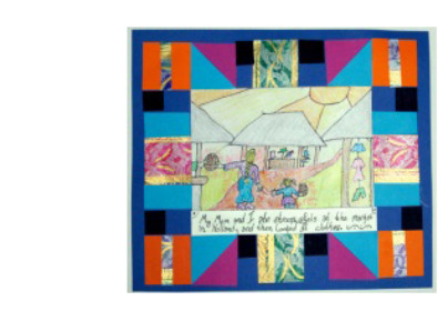 picture with paper quilt like border