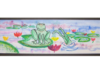 painting of frogs in a pond