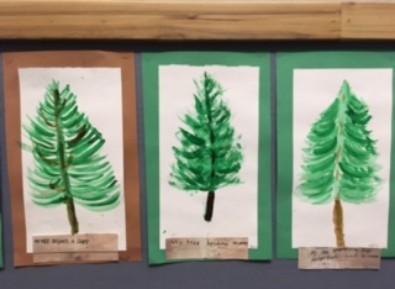 three paintings of trees