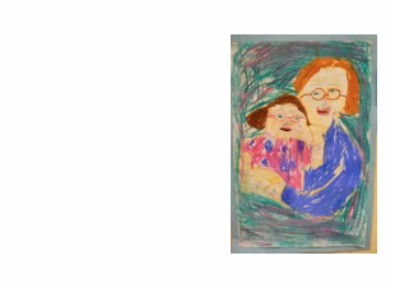 photo of student art of parent and child