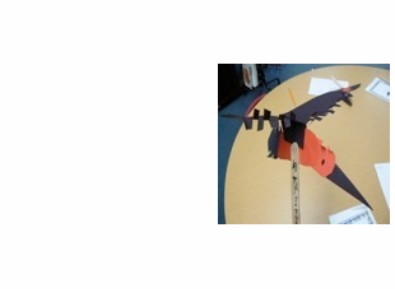 photo of student made raven puppet