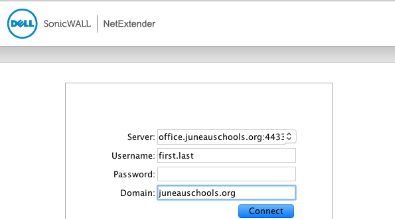 Sample of the NetExtender login window