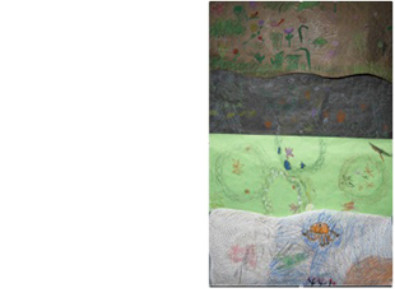 large class mural of the tidal zones in oil pastel