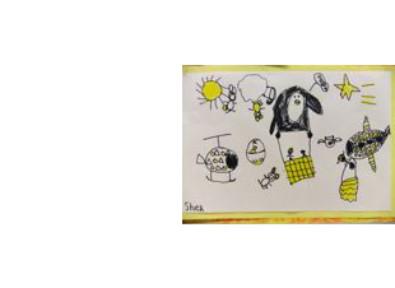 an imaginary drawing of a hot air balloon