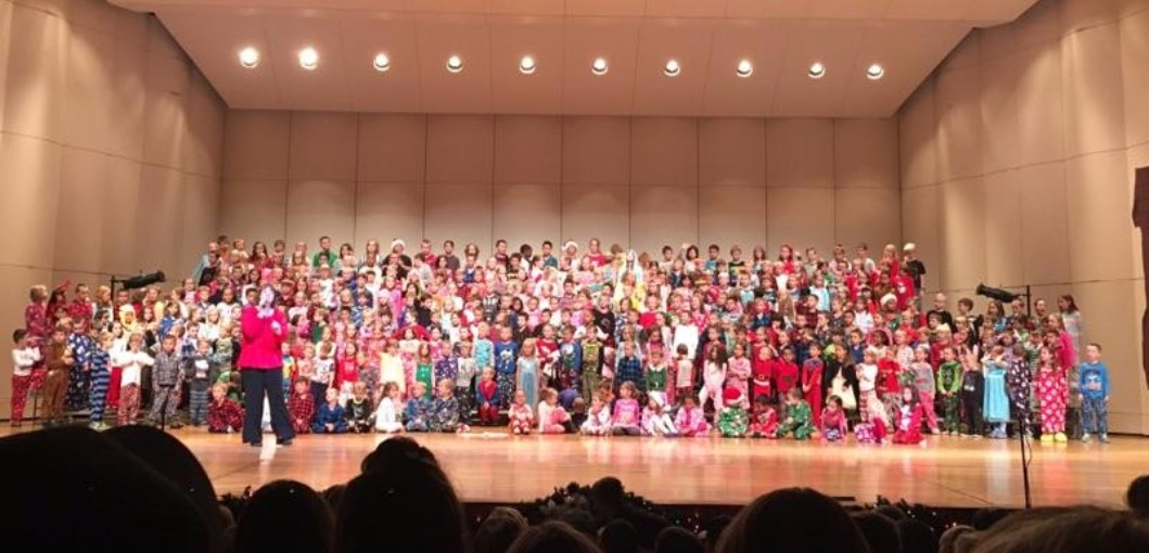 All students from grades K to 3rd at Christmas Concert