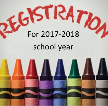 2017-2018 registration with crayons