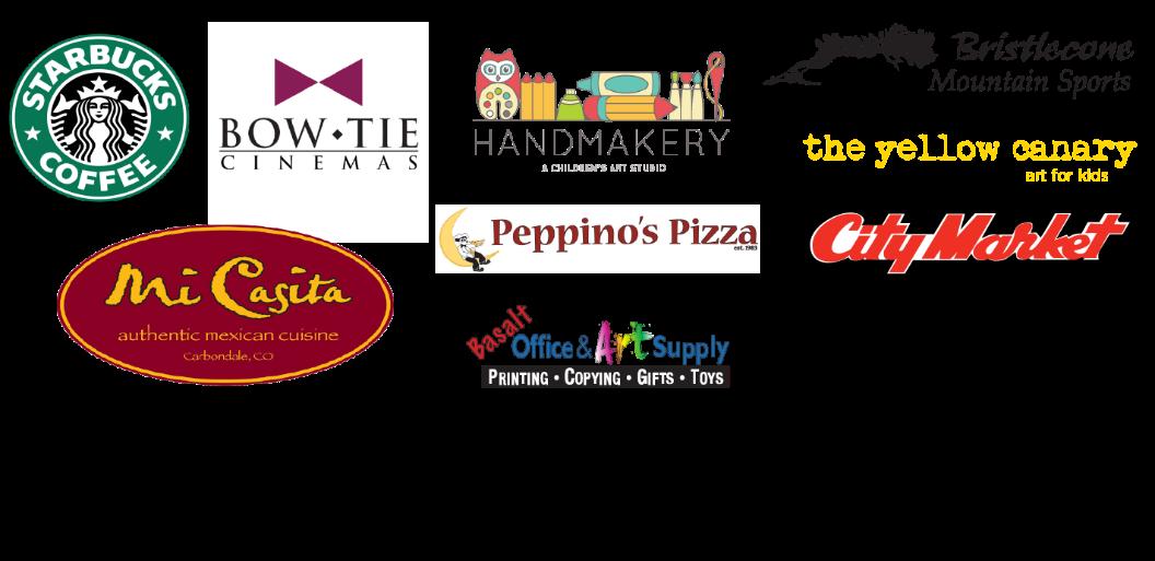 Starbucks, Bow Tie Cinemas, Handmakery, Bristlecone Mountain Sports, The Yellow Canary, Peppino's Pizza, City Market, Mi Casita,