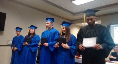 FIVE MID-YEAR GRADUATES RECEIVE HIGH SCHOOL DIPLOMAS
