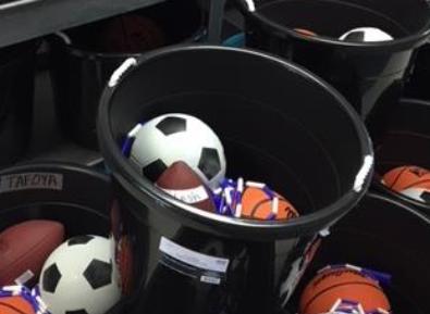 Tubs of classroom recess equipment
