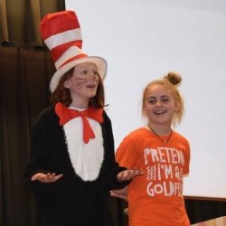 Color Photo of Students portraying The Cat in the Hat