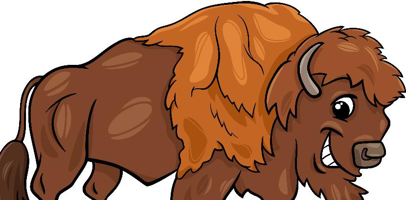 Cartoon of a buffalo.