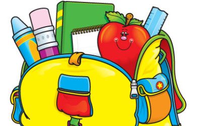 Cartoon of school supplies in a backpack.