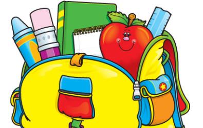 Cartoon of school supplies in a backpack.
