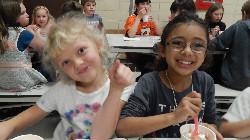 Students having ice cream.