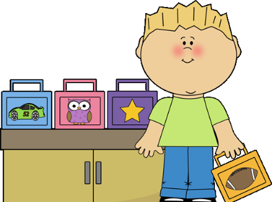 Cartoon of a student with lunch boxes.