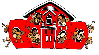 Cartoon of a school with happy students smiling in every window.