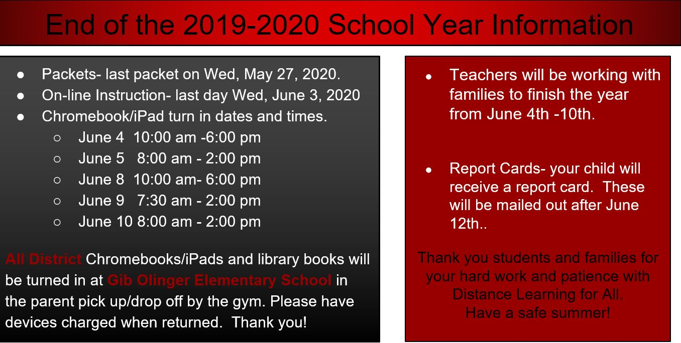 End of the 2019-2020 School Year Information