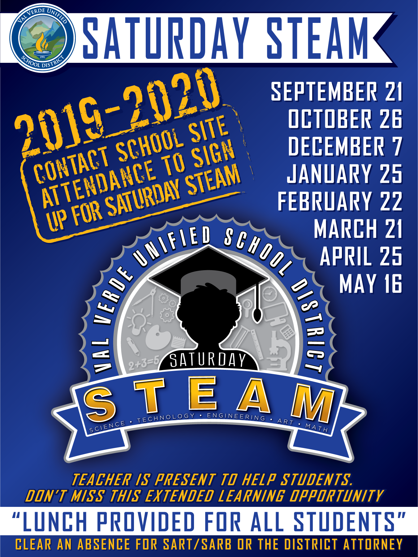 Sign Up For Saturday STEAM School by clicking on the image below.