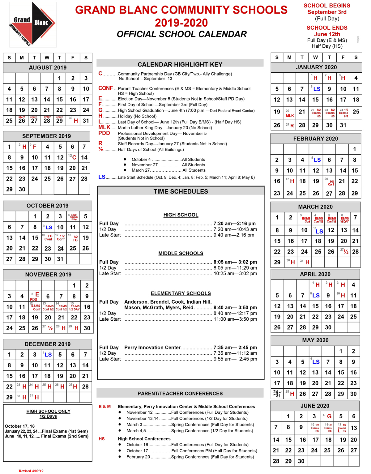 2019-2020 District Calendar is Official!