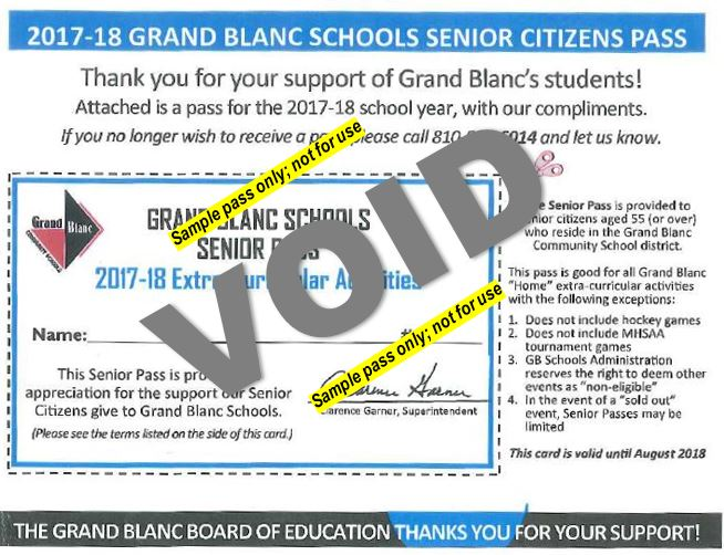 GBCS Senior Citizens Pass