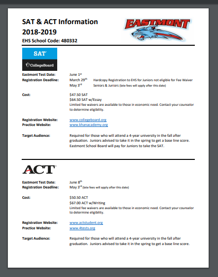 SAT & ACT Registration - Click here for details!
