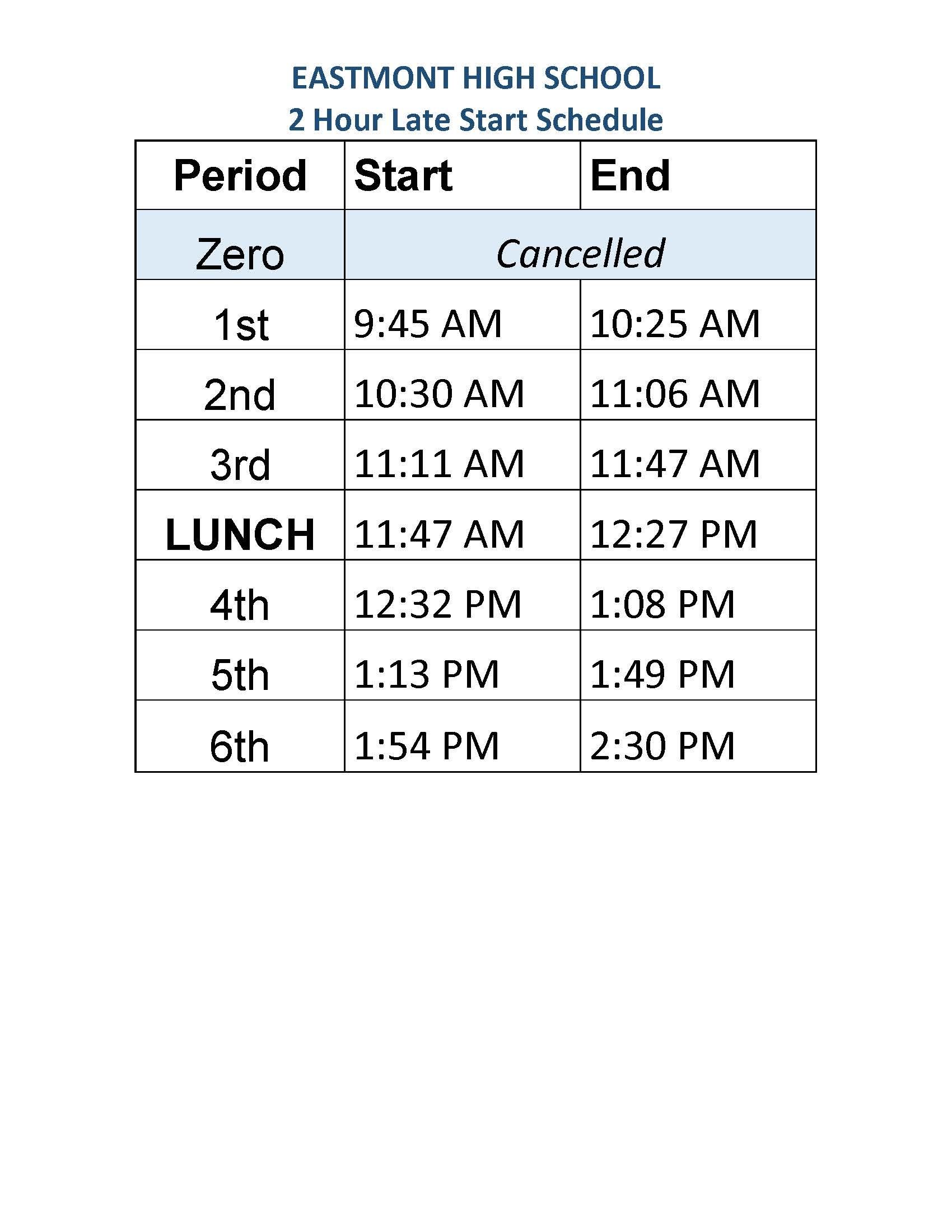In the event of a school delay due to inclement weather the following schedule will be implemented