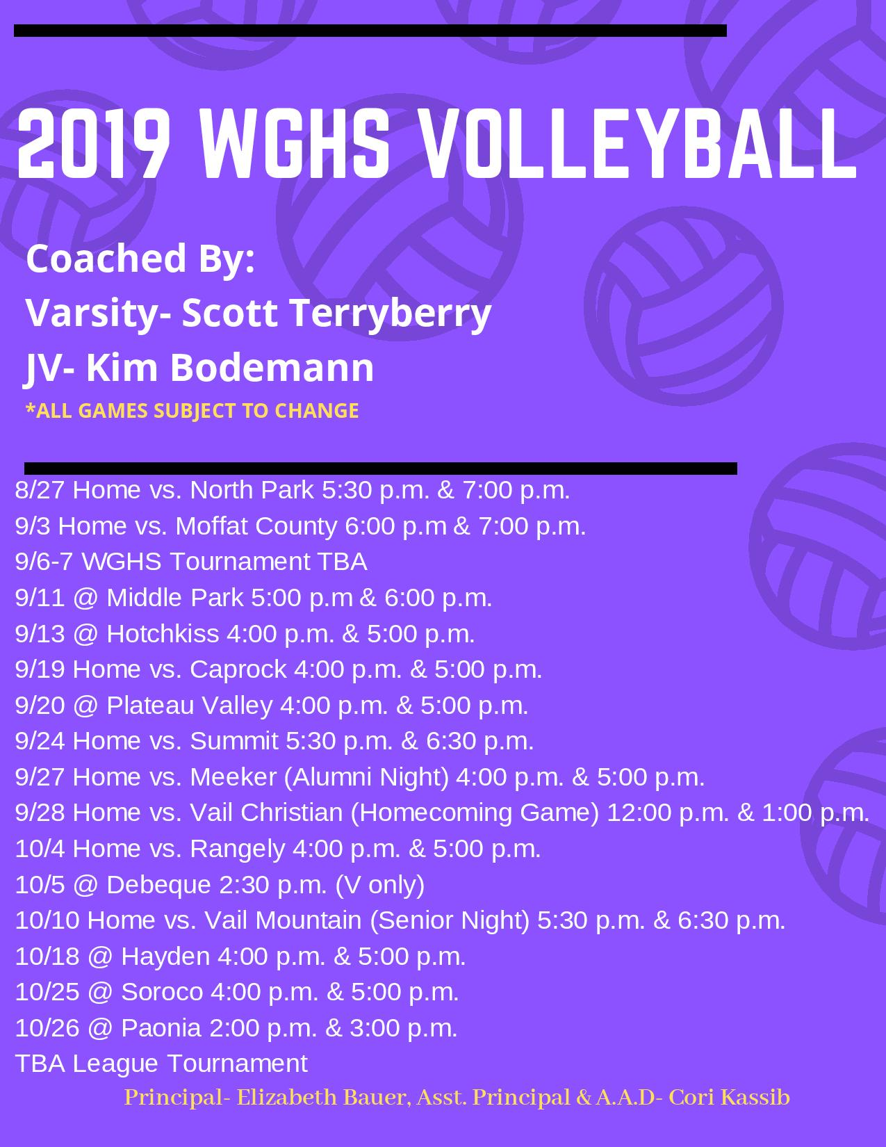 2019 Volleyball Schedule