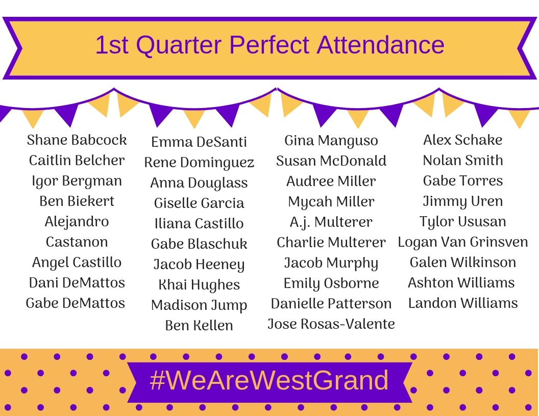 1st Quarter Perfect Attendance