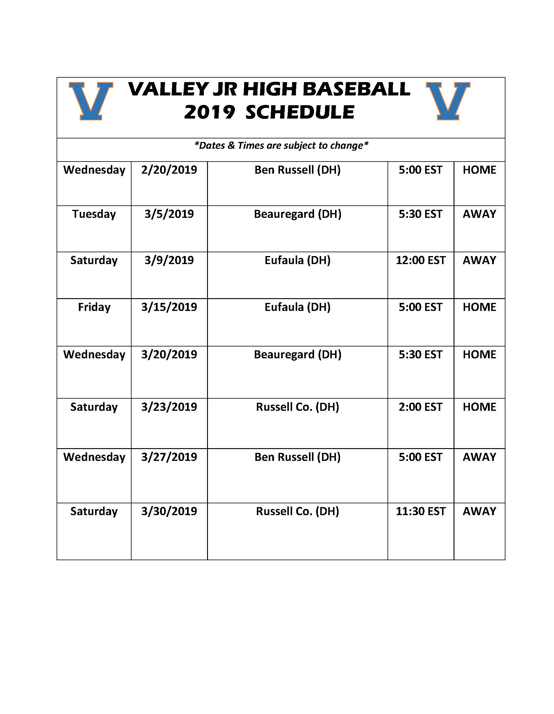 2019 WF Burns Jr. High Baseball Schedule