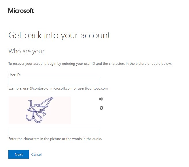 Senior O365 password reset portal