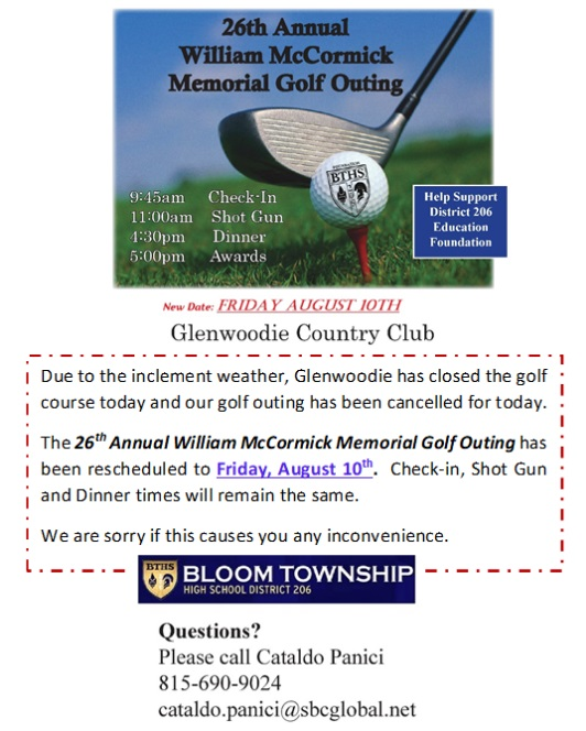 Golf Outing Rescheduled:  Click for Info