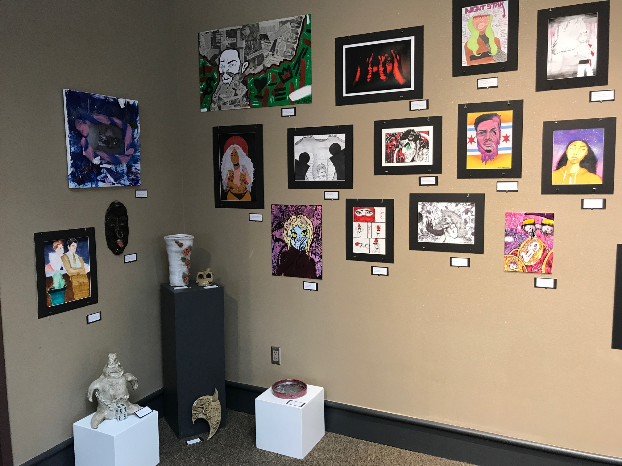 Bloom Student Art in Gallery at South Shore Arts