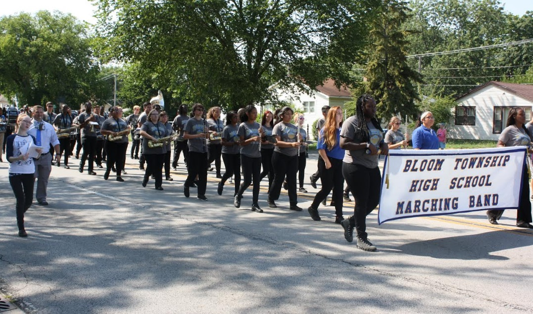 Pictures:  Bloom Twp Band Performs in Steger Parade