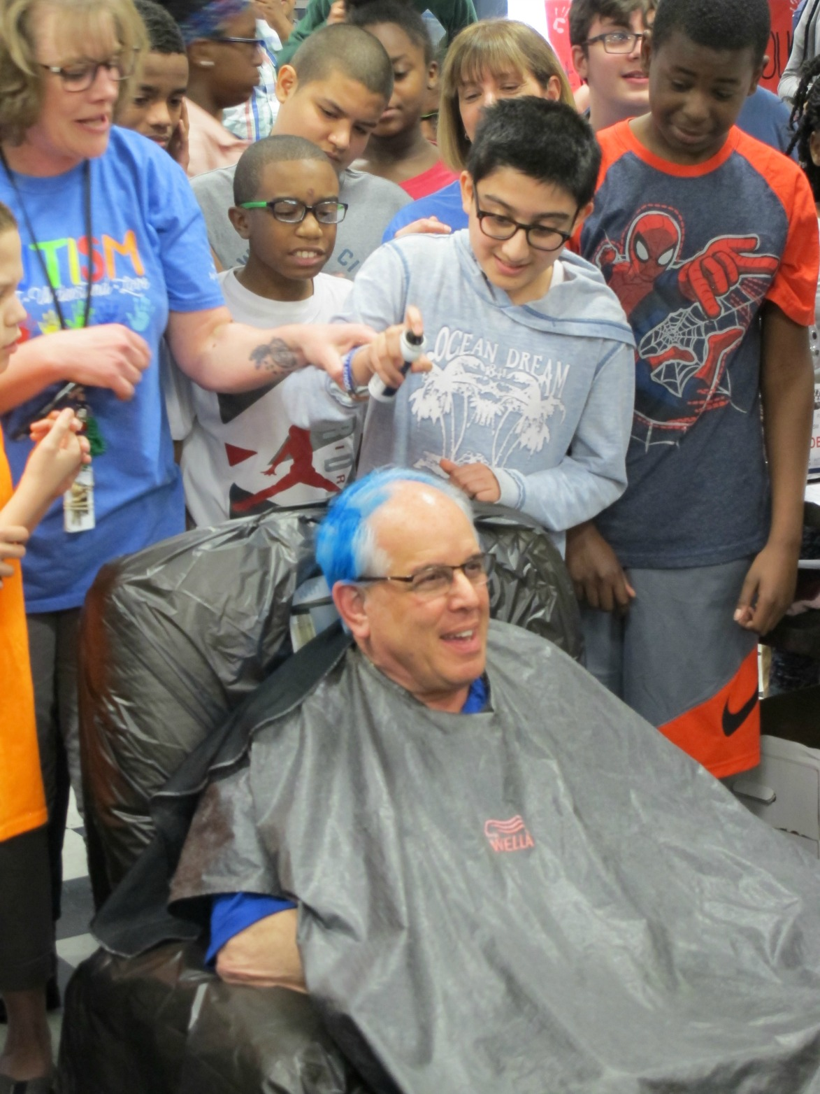 Students Dye Mr. Cavaliere's Hair in Support of Autism Awareness Month