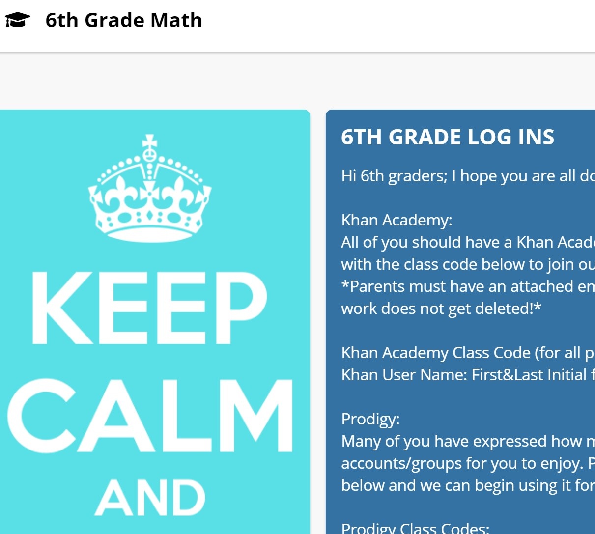 Click here for 6th Grade Math