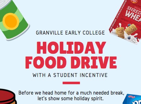 Holiday Food Drive - Due by December 14, 2018