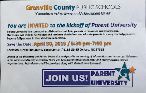 Parent University - April 30, 2019