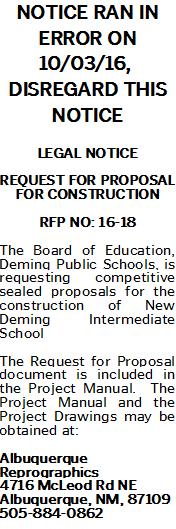 RFP for New Intermediate