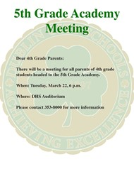 5TH GRADE ACADEMY PARENTS MEETING ANNOUNCED