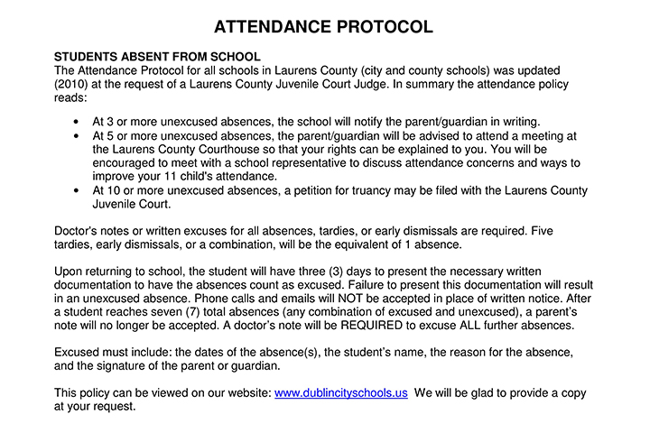 Important note on attendance