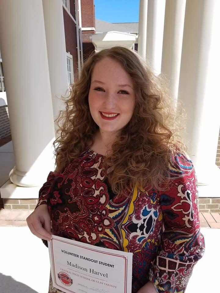 Madison Harvel Named March Volunteer Standout Student
