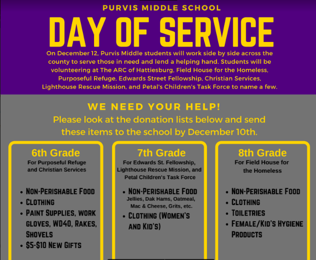 Purvis Middle School Service Day