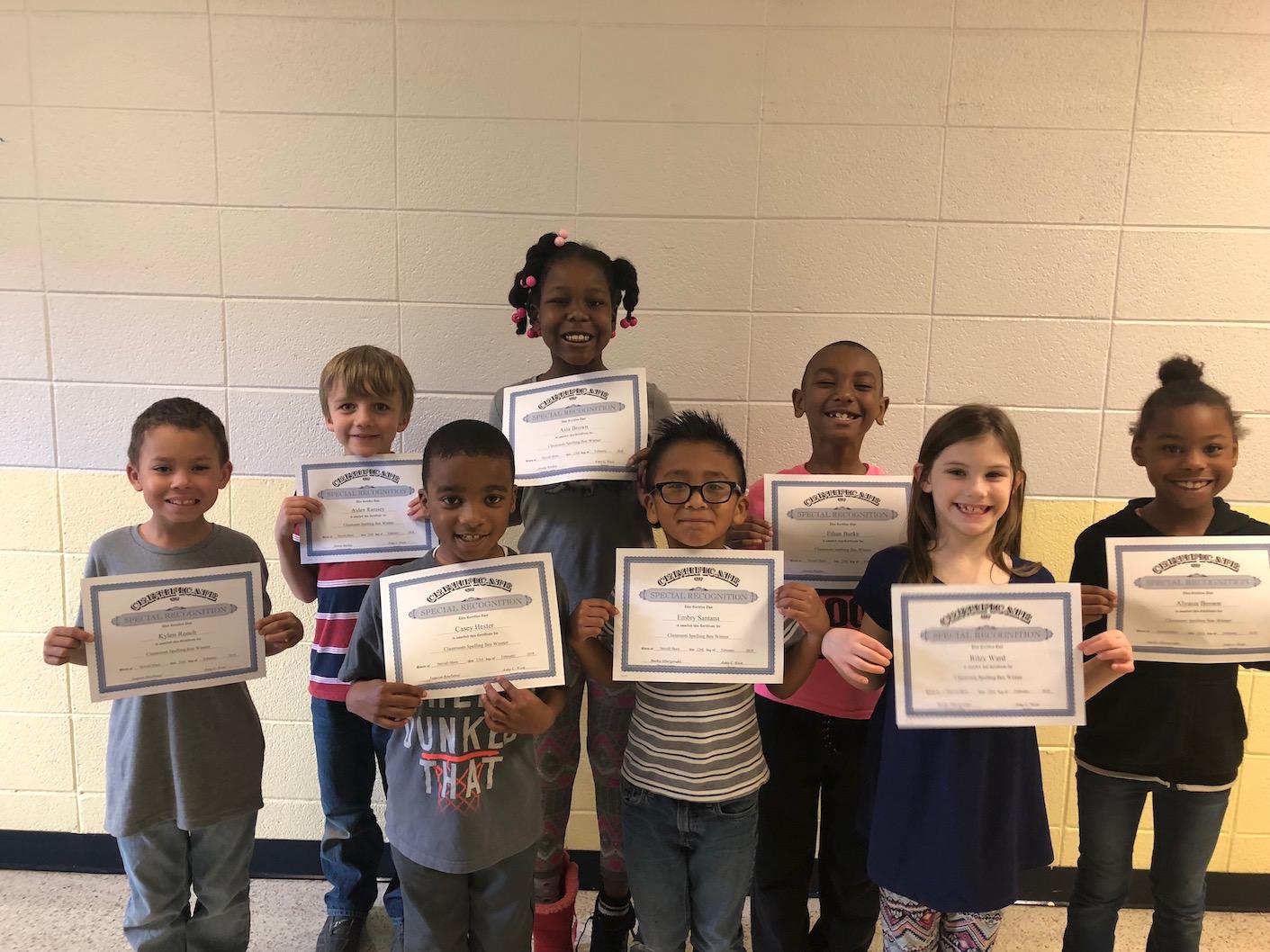 Second Grade Spelling Bee Winners